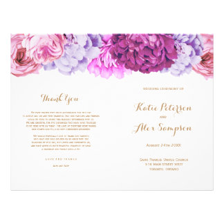 Wedding Programs with Pretty Watercolour Flowers Flyers