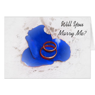 Wedding Proposal Card Will You Marry Me? Blue Rose