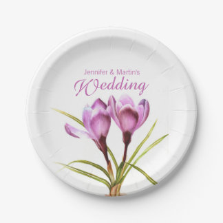 Wedding purple crocus art named paper plate
