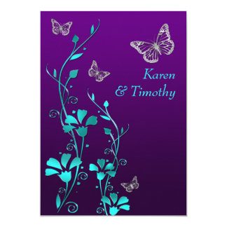 "Wedding | Purple Teal Silver, Floral | Butterflies 5"" X 7"" Invitation Card"