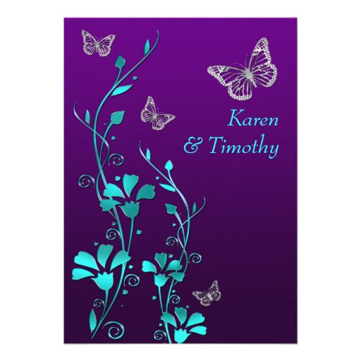 Wedding | Purple Teal Silver, Floral | Butterflies Personalized Invitation