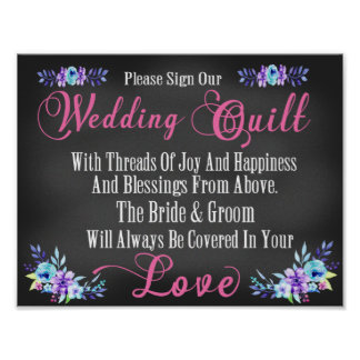 """Wedding Quilt """"Guest Book"""" Squares Sign Poster"""