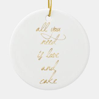 wedding quote, gold, love, romance, romantic gifts ceramic ornament