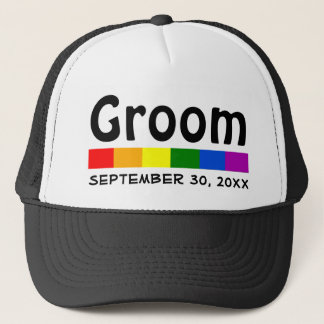 Wedding Rainbow Flag Banner Groom Trucker Hat