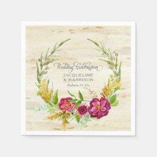 Wedding Reception Burgundy Wreath Rustic Country Paper Napkin