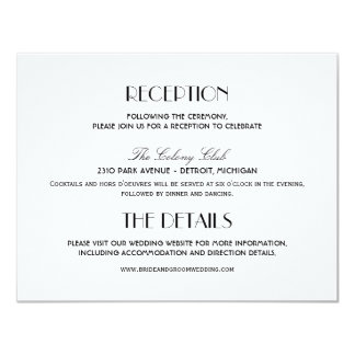 Wedding Reception Card | Art Deco Elegant Style