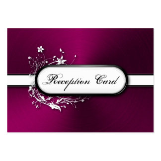 Wedding Reception Card Bold Modern Metallic Floral Business Cards