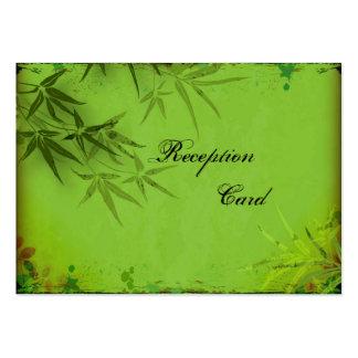 Wedding Reception Card Elegant Speckle Bamboo Leaf Business Card Template