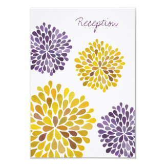 Wedding Reception Card Purple Yellow Dahlia Flower