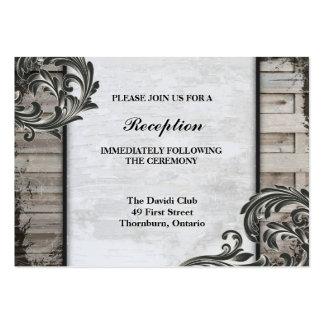 Wedding Reception Card Rustic Birch Barn Board Business Card Template
