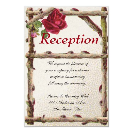 Wedding Reception Card Vintage Antique Rustic Natu