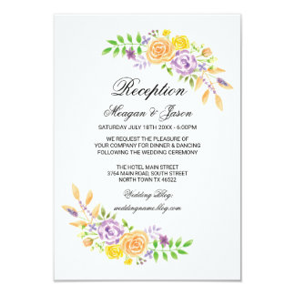 Wedding Reception Cards Floral Details Insert