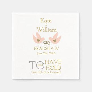 Wedding Reception Gray White Peach Doves Paper Napkin