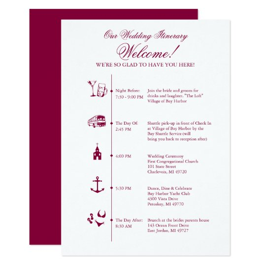 Wedding Invitation Timeline: Wedding Reception Itinerary Timeline In Wine Invitation