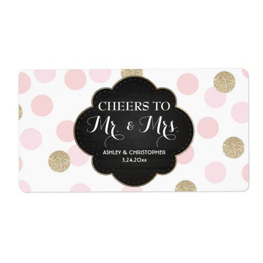 Wedding Reception Mini Champagne Label Polka Dots