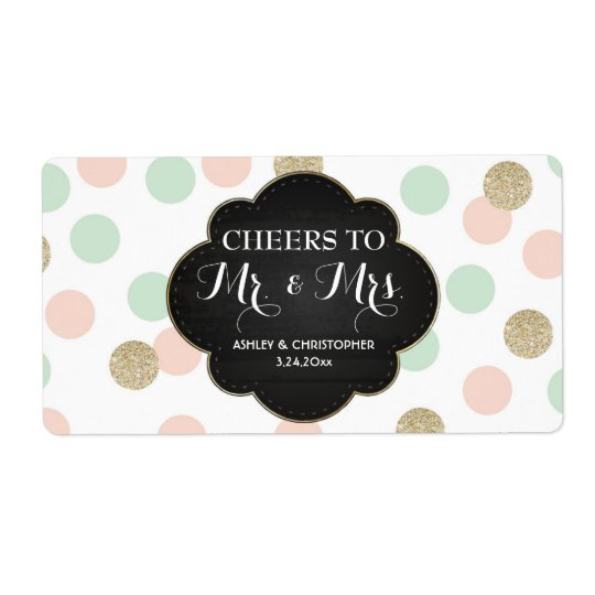 Wedding Reception Mini Champagne Label Polka Dots Shipping Label
