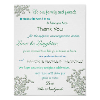 Wedding Reception Poster Thank You Sign Print