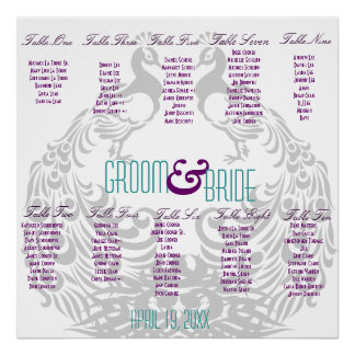 Wedding Reception Seating Chart - Peacock Themed Poster