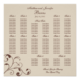 Wedding Reception Seating Chart - Square Posters