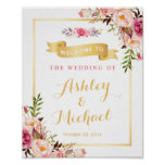 Wedding Reception Sign Elegant Chic Floral Gold Poster