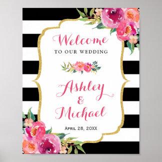 Wedding Reception Sign Fuchsia Purple Pink Floral