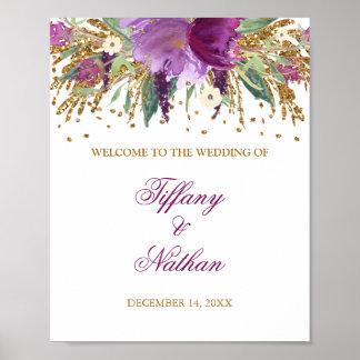 Wedding Reception Sign Purple Glitter Amethyst