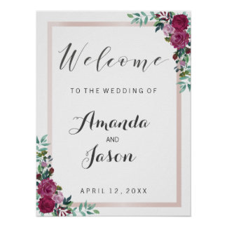 Wedding reception sign Welcome elegant chic floral Poster