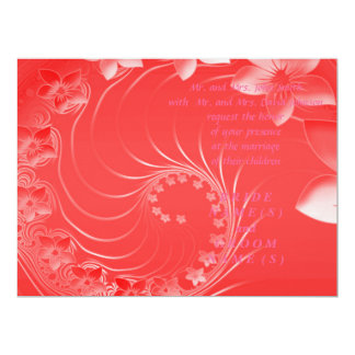 Wedding - Red Abstract Flowers Invitations