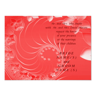 """Wedding - Red Abstract Flowers 6.5"""" X 8.75"""" Invitation Card"""