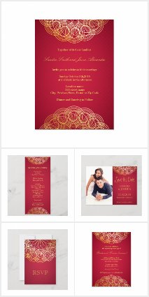 Wedding red and gold mandala