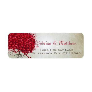 Wedding Red Heart Leaf Tree Return Address