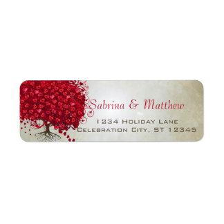 Wedding Red Heart Leaf Tree Return Address Return Address Label