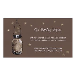 Wedding Registry Card Mason Jar & Fireflies Business Card