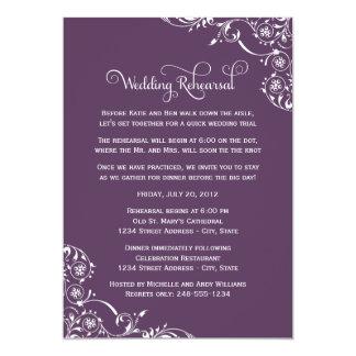 """Wedding Rehearsal   Amethyst Purple Scroll 5"""" X 7"""" Invitation Card"""