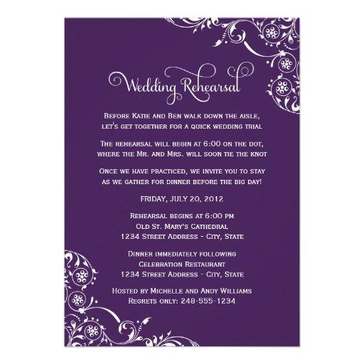 Wedding Rehearsal and Dinner Invitations | Purple Personalized Invitation