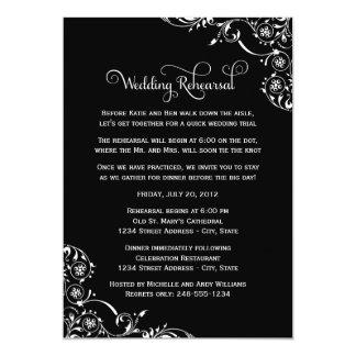"Wedding Rehearsal   Black and White Scroll 5"" X 7"" Invitation Card"
