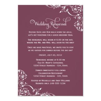 """Wedding Rehearsal   Burgundy Scroll 5"""" X 7"""" Invitation Card"""