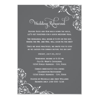 "Wedding Rehearsal | Charcoal Gray Scroll 5"" X 7"" Invitation Card"
