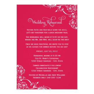 "Wedding Rehearsal   Cherry Red Scroll 5"" X 7"" Invitation Card"