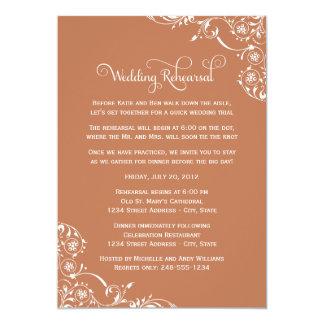 """Wedding Rehearsal   Copper Orange Scroll 5"""" X 7"""" Invitation Card"""
