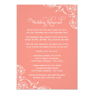 "Wedding Rehearsal   Coral Pink Scroll 5"" X 7"" Invitation Card"