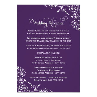 "Wedding Rehearsal | Dark Purple Scroll 5"" X 7"" Invitation Card"