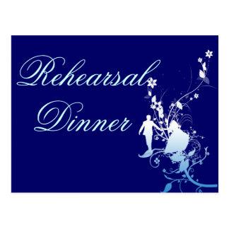 Wedding Rehearsal  Dinner Blue and White Postcard