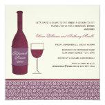 "Wedding Rehearsal Dinner   Burgundy Wine Theme 5.25"" Square Invitation Card"