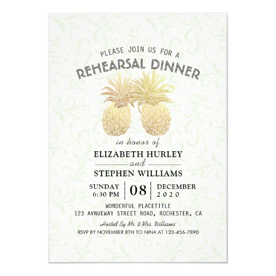 Wedding Rehearsal Dinner Chic Gold Foil Pineapples Card