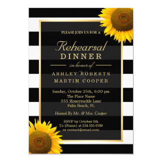 Wedding Rehearsal Dinner Elegant Sunflowers Decor Card