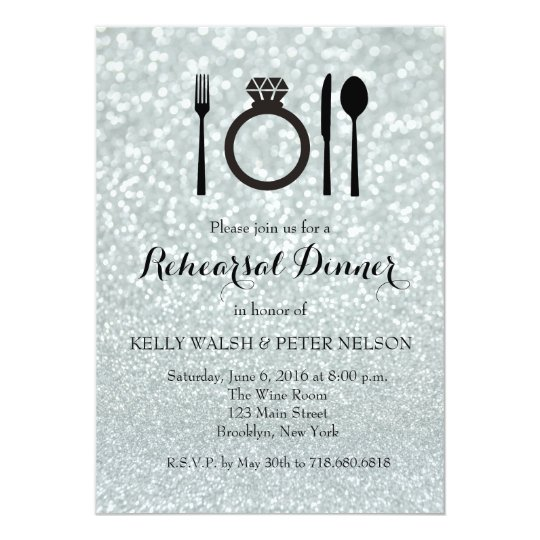 Wedding Rehearsal Dinner Glitter Lights Invitation