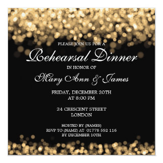 Wedding Rehearsal Dinner Gold Lights Card