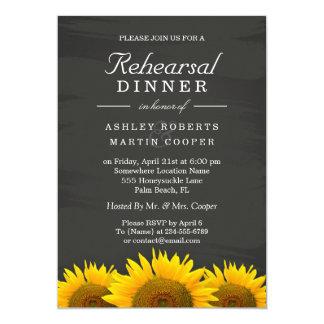 "Wedding Rehearsal Dinner Sunflowers Chalkboard 5"" X 7"" Invitation Card"