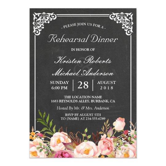 Wedding Rehearsal Dinner Vintage Floral Chalkboard Card